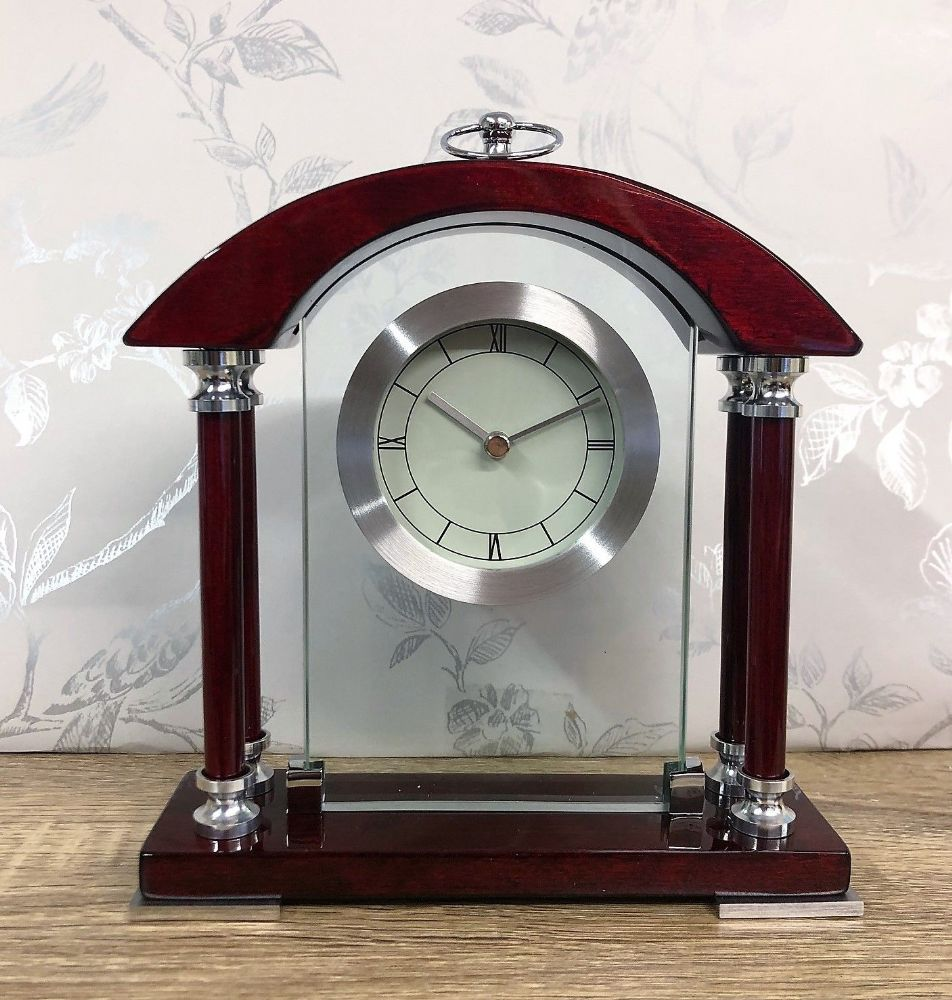 Widdop Wooden Mantel Clock Arched Top & Engraving Plate